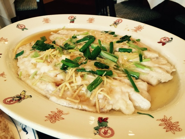 Large Steamed Sea Bass with Ginger and Spring Onion from Han Court