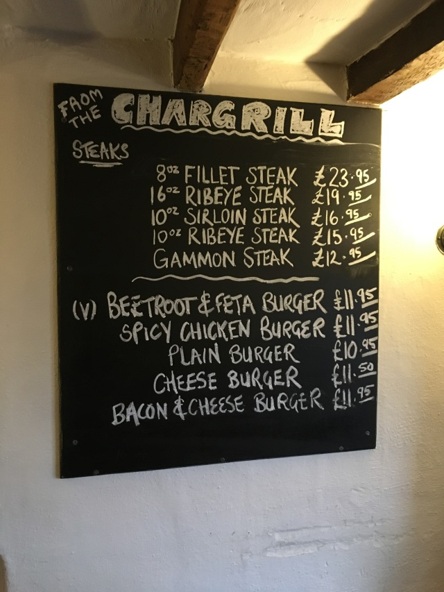 Chalkboard menu at the Chichester Arms