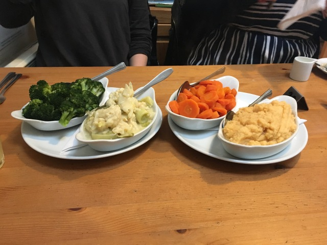 Vegetables to go with roast dinner at Fremington Quay Cafe