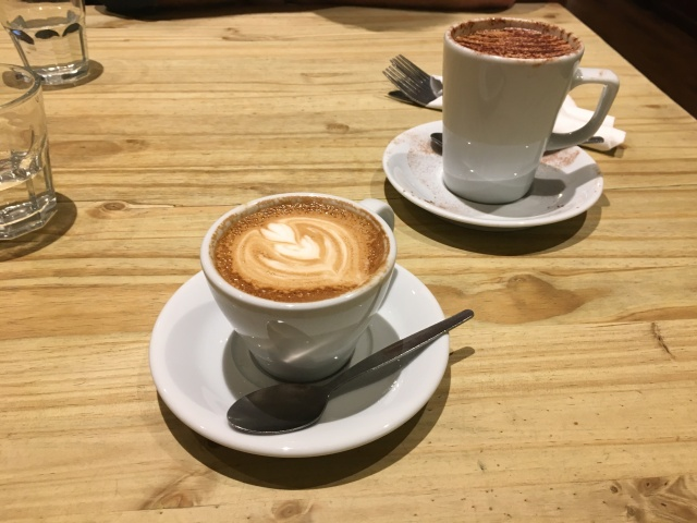 Flat white coffee from Driftwood Coffee Shop, Barnstaple