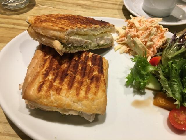Chicken mozzarella pesto panini from Driftwood Coffee Shop Barnstaple