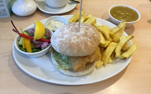 Splash cod burger from The Pelican fish and chip restaurant and takeaway