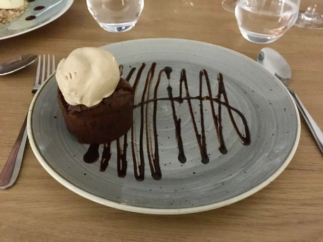 Salted caramel chocolate brownie from The Taw Restaurant