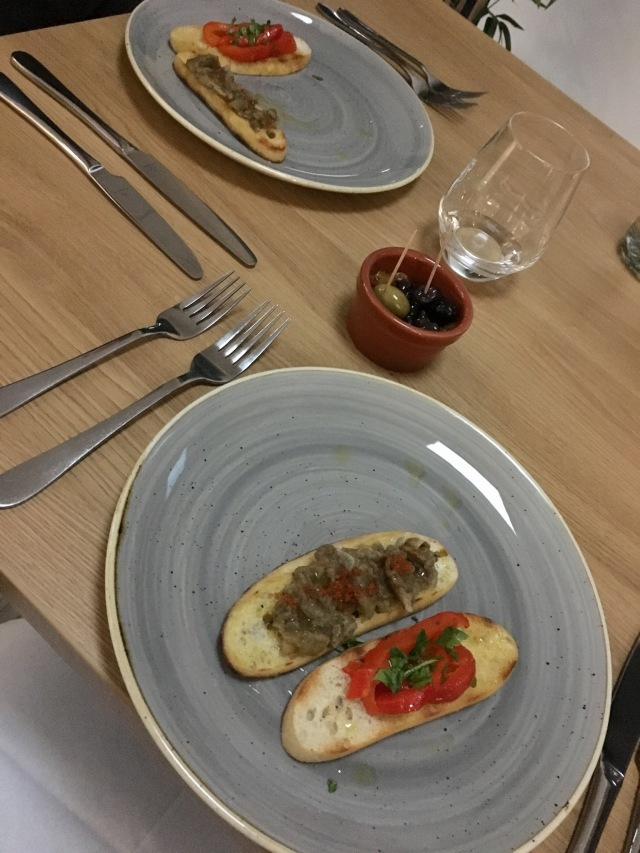 Roast pepper and aubergine toasts with olives from The Taw Restaurant