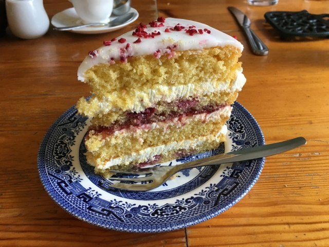 Raspberry sponge cake from The Corn Dolly South Molton