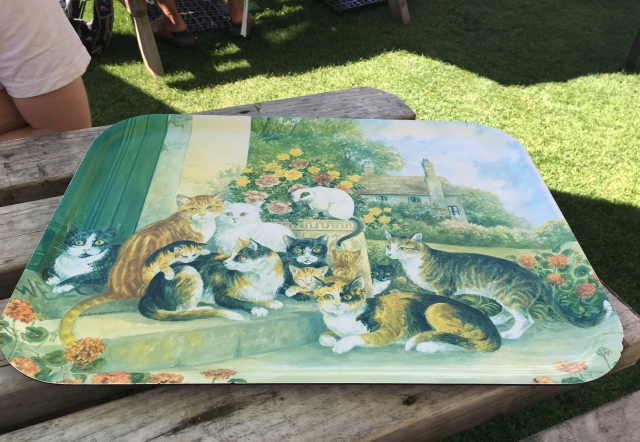 Cat tea tray at the Town Farmhouse in Mortehoe