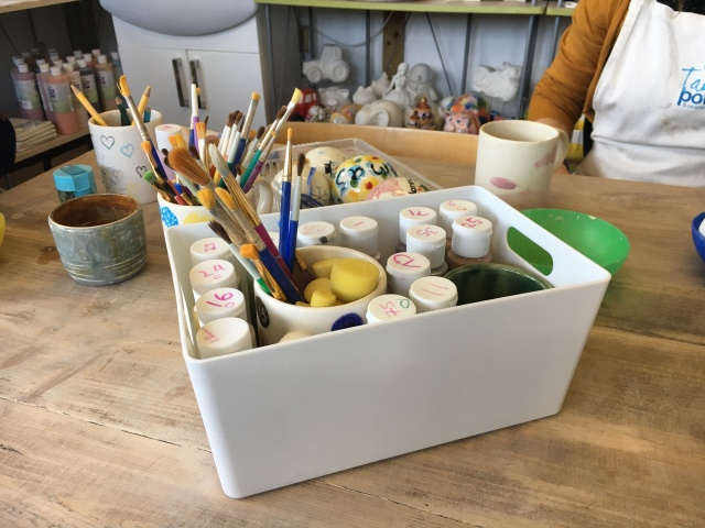 Painting equipment at Tarka Pottery