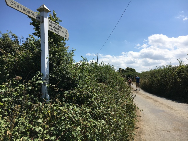 Signpost to Abbotsham on Westward Ho! walk