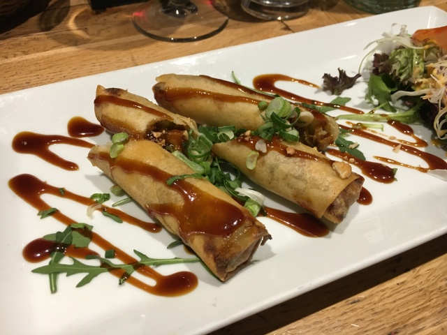 Duck and vegetable spring rolls from Morans Westward Ho!