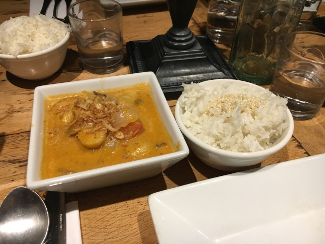 Beef massaman curry and Thai coconut rice from Morans Westward Ho!